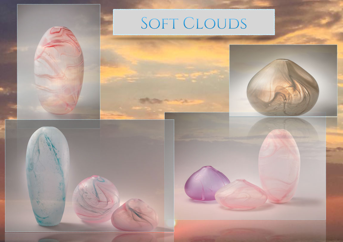 Soft Clouds Glass Vessles by Amy West Design